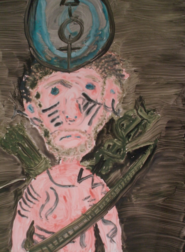 """""""Dejected Righteousness"""", Nick Milburn, 2008, Acrylic on Hard Press, 18"""" x 24"""""""