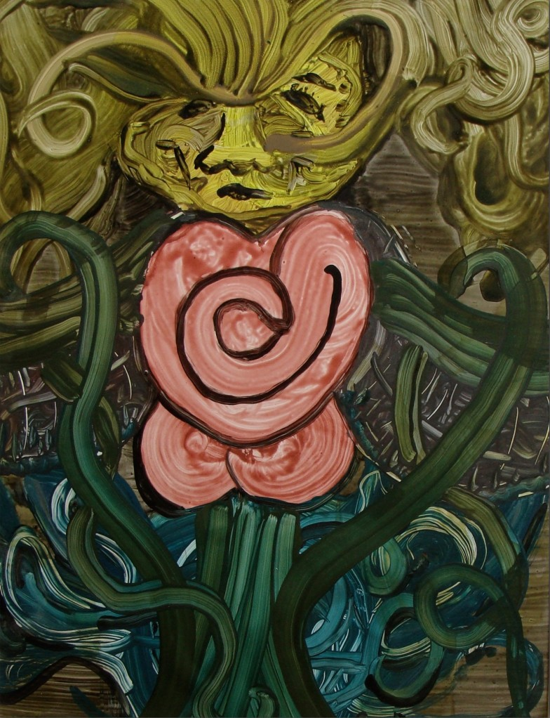 """Somber Flower: Love Internal"", Nick Milburn, 2008, Acrylic on Hard Press, 18"" x 24"""