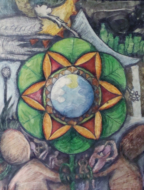 """Neo-Primitive Ecstatic"", 2010, 20"" x 30"", Chalk and Watercolor on Hot Press Watercolor Paper"
