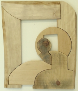 """""""Puzzling"""", Color Image, 2013, Machine Shaped, Hand Sanded and Finished Scrap Wood"""